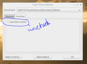 uncheck gain control external speakers